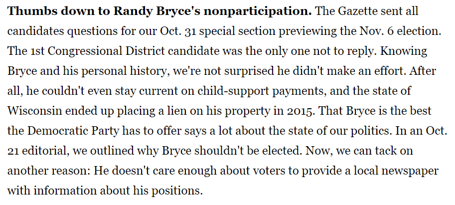 Janesville Gazette: Thumbs down to Randy Bryce's nonparticipation.